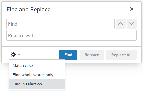 "Find and Replace dialog with new ""Find in selection"" option highlighted"